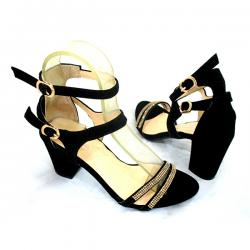 Black Velvet Double Belt Party Sandal
