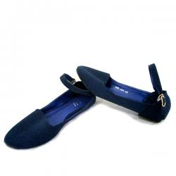 Ladies Dark Blue Belly Shoes With Belt