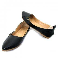 Ladies Black Belly Shoes With Belt