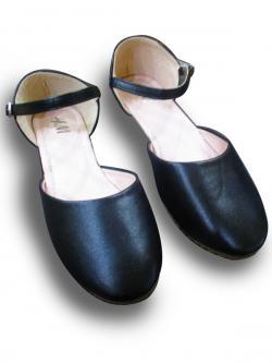 High Quality Leather Flat Ladies Sandal Shoes-Black/Cream