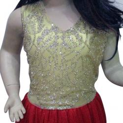 Party Wear Frock in Shiny Net - (JU-012)