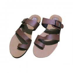 Brown Leather Slippers For Summer