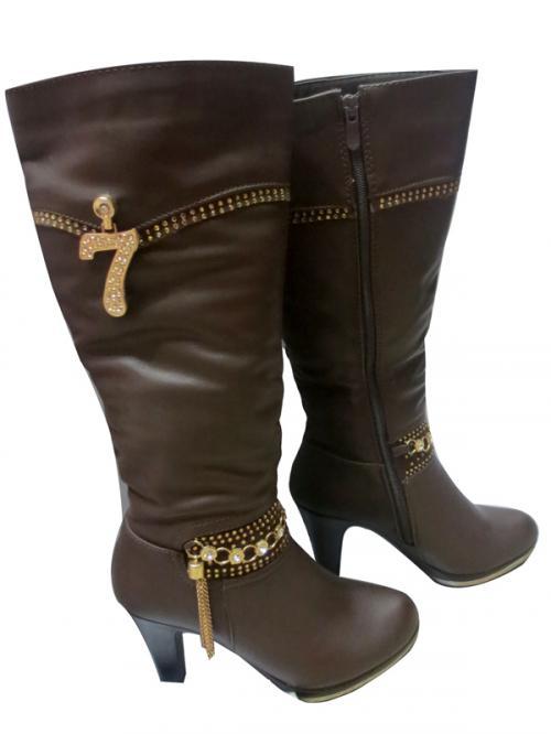 Ladies Leather Dark Brown Boot