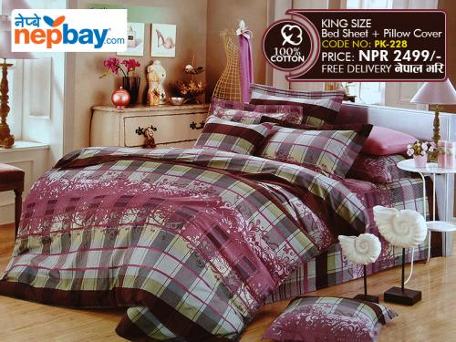 King Size - 100% Cotton Bedsheet (PK-228)