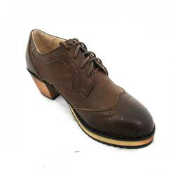Coffee Color Short Heel Women Oxford Shoes