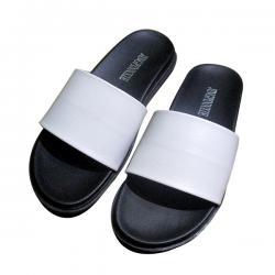 New Mens Black & White Slippers
