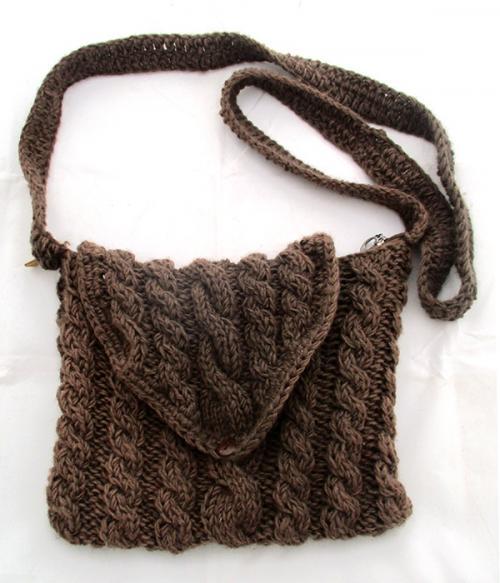 Light Brown Woolen Ladies' Bag - (SP-016)