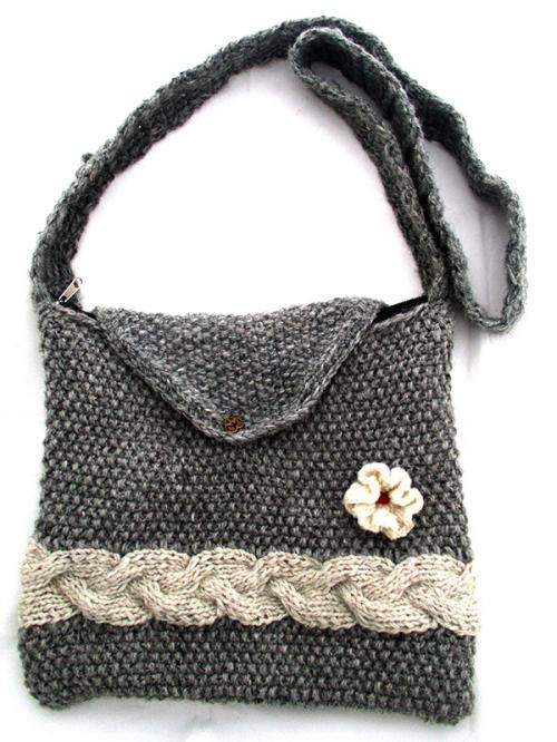 Gray Woolen Ladies Bag - (SP-018)