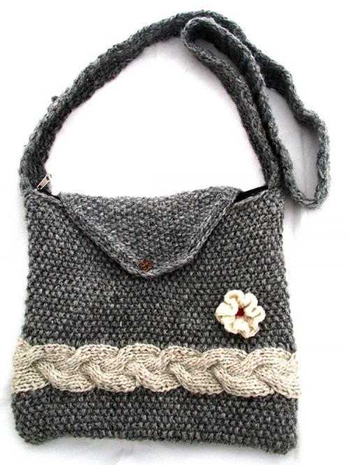 Gray Woolen Ladies Bag - (SP-018)
