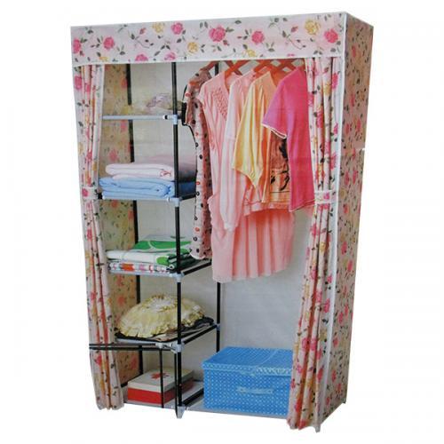Adjustable Closet Steel Wardrobe Cloth Rail with Protective Cove