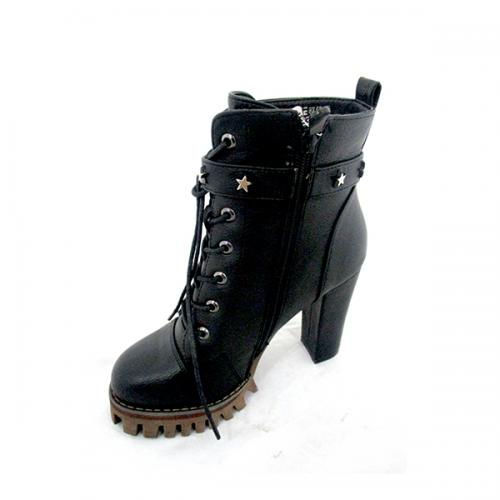 Ladies Dark Black High Heel Boot With Belt