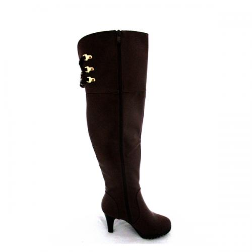 Ladies Brown Long Boot with Zipper