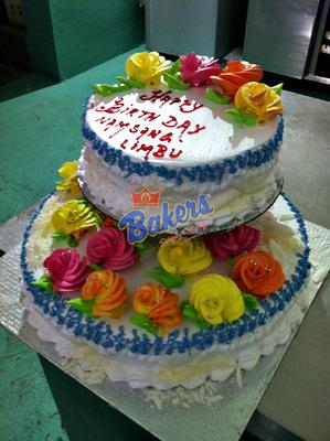 2 Decker Flower Deco Cake