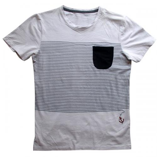 Black & White Linear T-Shirt For Men - (EC-026)