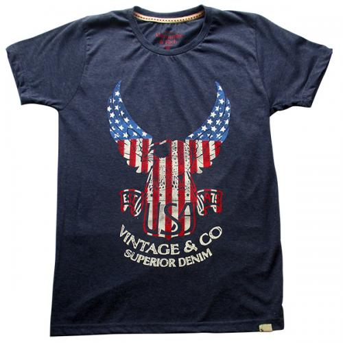 USA Printed Blue T-Shirt - (EC-028)