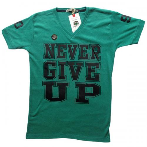 Never Give Up Printed Men's T-Shirt - (EC-029)
