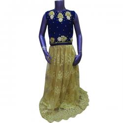 Blue Embroidered Long Frock For Kids - (JU-009)