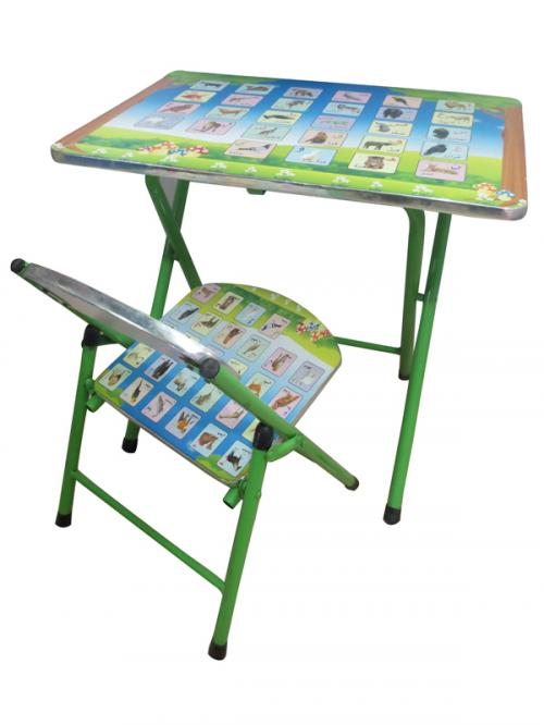 Kids Study Table Set - animals and Birds printed