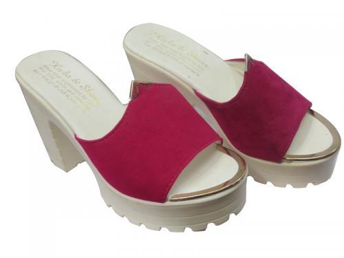 Ladies Pink / White Heel Sandal