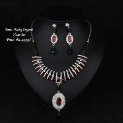 Faux Ruby Emerald Crystal Set