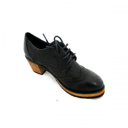 Black Short Heel Women Oxford Shoes