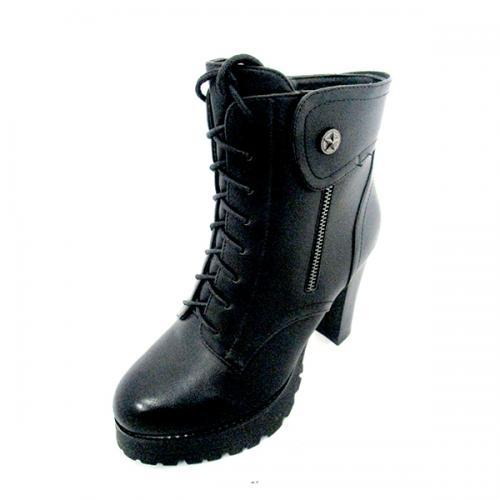 Ladies Dark Black High Heel Boot