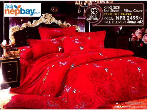 King Size - 100% Cotton Bedsheet - (PK-224)