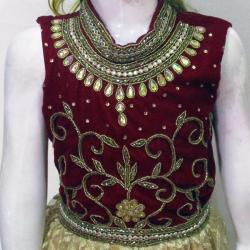 Marron And Cream Embroidered Frock For Kids - (JU-003)