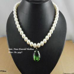 Faux Emerald Pearl Necklace