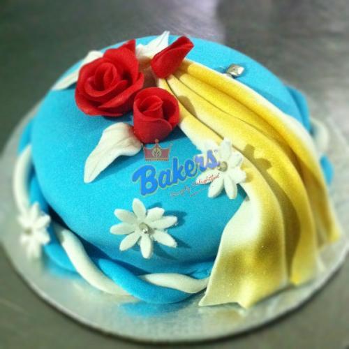 Blue Silk Marzipan Cake - 1KG