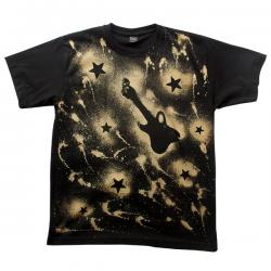 Guitar & Stars Printed Black T-Shirt - (EC-055)