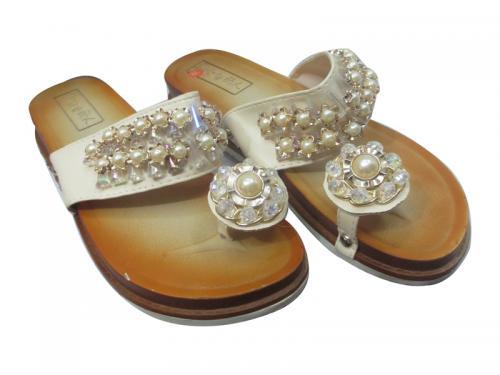 Ladies White Pearl Sandal