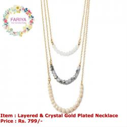 Layered Gold & Crystal Neckpice