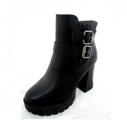 Black Leather Work Boots With Double Belt