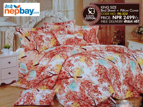 King Size - 100% Cotton Bedsheet (PK-222)