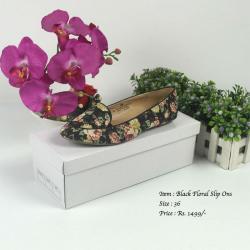Noir Floral Slip On
