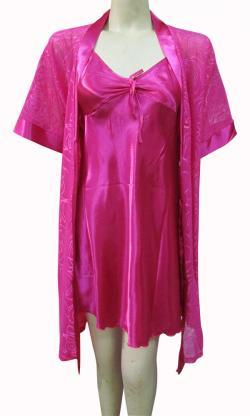 Dark Pink Silk Nightwear