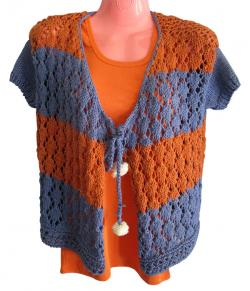 Orange & Blue Mix Color Woolen Outfit - (SP-007)