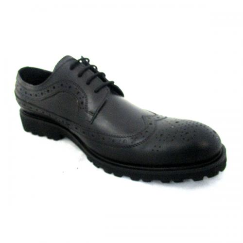 Dark Black Leather Oxford Shoes
