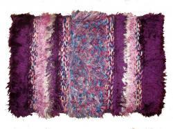 Purple Striped Fancy Bathroom Rug