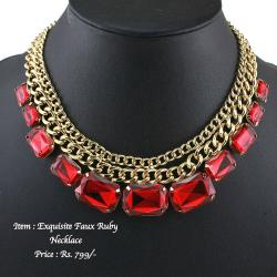 Exquisite Faux Ruby Necklace