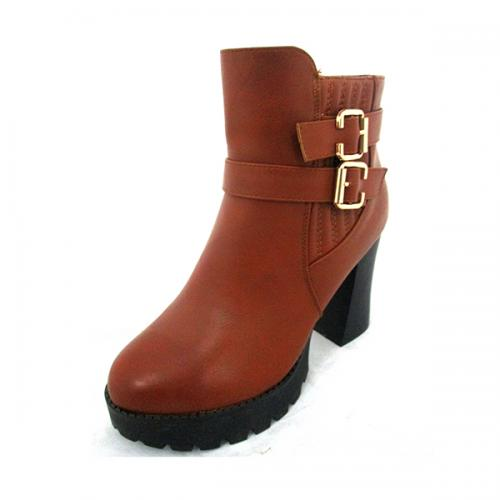 Brown Leather Work Boots With Double Belt