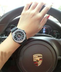 Black Geneva Diamante Watch