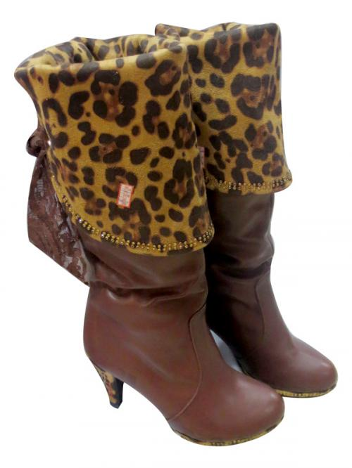 Ladies Leather Dotted Printed Brown Boot