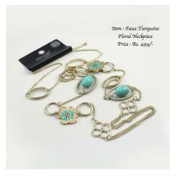 Faux Turquoise Gold Necklac