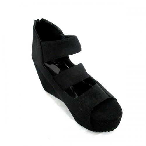Dark Black Wedge Heel Sandal