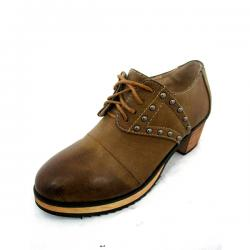 Brown Short Heel Women Oxford Shoes