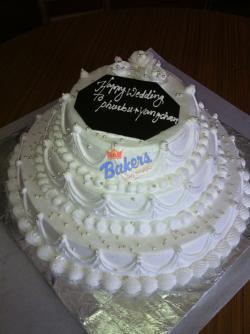 3 Decker White Wedding Cake