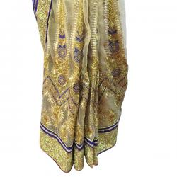 Blue & Golden Color Embroidery Saree - (AE-024)