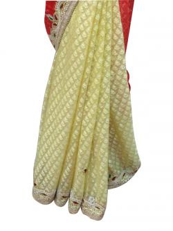 Red & Yellow Embroidery Saree - (AE-025)